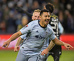 Roger Espinoza of Sporting KC celebrates his goal against Independiente. Sporting KC defeated Club Atletico Independiente 3-0 in a CONCACAF Champions League quarterfinal game at Children's Mercy Park on March 14, 2019.