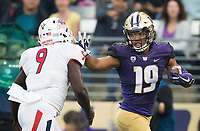 Freshman tight end Hunter Bryant was the Huskies' leading receiver on the evening with 99 yards on three receptions.