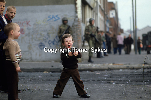 Kids playing guns, during The Troubles Belfast 1981 Northern Ireland  1980s<br />