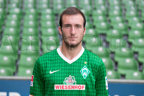 29.07.2013. Bremen, Germany.  The picture shows German Soccer Bundesliga club SV Werder Bremen's Luca Caldirola during the official photocall for the season 2013-14 in Bremen.