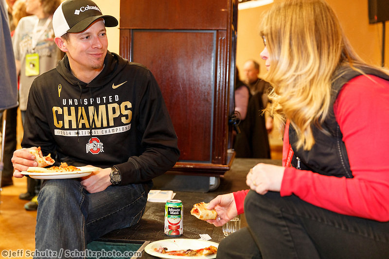 Iditarod musher Matt Failor has lunch with his Iditarider Bobby Hjelgren at the mandatory musher meeting on Thursday March 5, 2015 at the Millennium Hotel race headquarters in Anchorage.  Iditarod 2015 <br /> <br /> (C) Jeff Schultz/SchultzPhoto.com - ALL RIGHTS RESERVED<br />  DUPLICATION  PROHIBITED  WITHOUT  PERMISSION