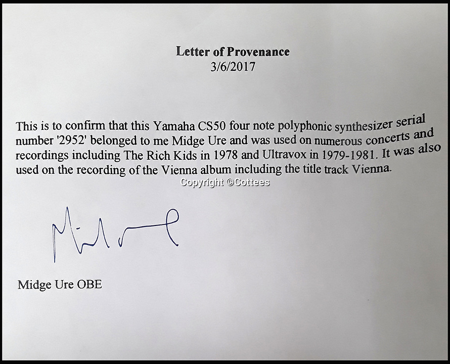 BNPS.co.uk (01202 558833)<br /> Pic: Cottees/BNPS<br /> <br /> A letter of provenance from Midge Ure.<br /> <br /> The synthesiser used by eighties pop group Ultravox for their seminal hit Vienna has emerged for sale after being uncovered in the store room of a youth club.