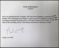 BNPS.co.uk (01202 558833)<br /> Pic: Cottees/BNPS<br /> <br /> A letter of provenance from Midge Ure.<br /> <br /> The synthesiser used by eighties pop group Ultravox for their seminal hit Vienna has emerged for sale after being uncovered in the store room of a youth club.The Yamaha CS-50 analogue synthesiser was donated to the Limelights' club in Poole, Dorset, by frontman Midge Ure's brother, Bobby.It had been languishing in a cupboard for years before a youth worker recently found it.The electric instrument, which featured the 1981 track, is now tipped to sell for &pound;2,000.