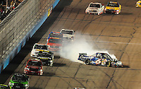Nov. 7, 2008; Avondale, AZ, USA; Nascar Craftsman Truck Series driver Colin Braun crashes during the Lucas Oil 150 at Phoenix International Raceway. Mandatory Credit: Mark J. Rebilas-