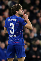 Marcos Alonso of Chelsea urges a teammate to be quiet during Chelsea vs Dynamo Kiev, UEFA Europa League Football at Stamford Bridge on 7th March 2019