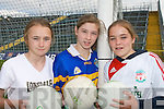 FUTURE STARS:Niamh Carmody (Ballylongford NS), Emma O'Connor (Glenflesk NS) and Sinead Brosnan (Caherleaheen NS) who took part in the Kerry Primary Schools Girls Skills Finals in Fitzgerald Stadium Killarney on Friday last.   Copyright Kerry's Eye 2008