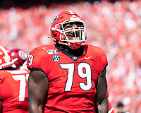 ATHENS, GA - OCTOBER 12: Isaiah Wilson #79 of the Georgia Bulldogs celebrates after the Swift touchdown during a game between University of South Carolina Gamecocks and University of Georgia Bulldogs at Sanford Stadium on October 12, 2019 in Athens, Georgia.