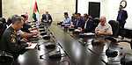 Palestinian Prime Minister Rami Hamdallah chairs a meeting with security chiefs, in the West Bank city of Ramallah on June 08, 2017. Photo by Prime Minister Office