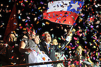 Sebastian Pinera, presidential candidate of Chile's opposition coalition, celebrates with his wife Cecilia Morel after arriving first during the country's general elections in Santiago, Sunday, Dec. 13, 2009. Pinera, a right-wing billionaire, beat three leftists in Sunday's elections but failed to obtain a majority, setting up a runoff against a Eduardo Frei of Chile's ruling coalition.