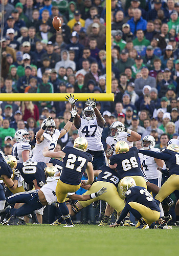 October 20, 2012:  Notre Dame kicker Kyle Brindza (27) kicks game winning field goal during NCAA Football game action between the Notre Dame Fighting Irish and the BYU Cougars at Notre Dame Stadium in South Bend, Indiana.  Notre Dame defeated BYU 17-14.