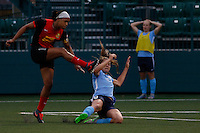 Rochester, NY - Saturday May 21, 2016: Sky Blue FC defender Erica Skroski (8) attempts to block  Western New York Flash forward Jessica McDonald (14). The Western New York Flash defeated Sky Blue FC 5-2 during a regular season National Women's Soccer League (NWSL) match at Sahlen's Stadium.