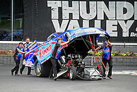 Jun. 17, 2011; Bristol, TN, USA: NHRA funny car driver Dan Wilkerson during qualifying for the Thunder Valley Nationals at Bristol Dragway. Mandatory Credit: Mark J. Rebilas-