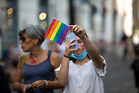 """Rome, 16/07/2020. Today, people gathered in Piazza Santi Apostoli to protest against the demo held outside the Italian Parliament (http://bit.do/fG98T) and in support to the so called Zan Bill Against Homotransphobia and Misogyny (1.) (DDL Zan contro l'omotransfobia e la misoginia): """"Amendments to articles 604-bis and 604-ter of the penal code, on violence or discrimination on grounds of sexual orientation or gender identity"""" (569) (Proposta di legge: ZAN: """"Modifiche agli articoli 604-bis e 604-ter del codice penale, in materia di violenza o discriminazione per motivi di orientamento sessuale o identità di genere"""" [569]), proposed by Democratic Party (PD) Alessandro Zan MP. From the Counter protest Facebook event page (2.): «On July 16 at 17:00, Piazza Montecitorio (Rome) the homophobes will take to the streets to stop the approval of the anti-homotransphobia [Zan Bill, ndr] law. These days, we have gathered as many people as possible to create a counter-protest; we too have to go out into the square with megaphones and billboards to convey our message and make our ideals prevail for freedom and equality. We need a law to allow all the Italian citizens to breathe, no one should be discriminated against on the basis of their sexual orientation and we are here to Shout […]».<br /> <br /> Footnotes & Links:<br /> 1. https://www.camera.it/leg18/126?tab=&leg=18&idDocumento=0569<br /> 2. https://www.facebook.com/events/718495065654052/"""
