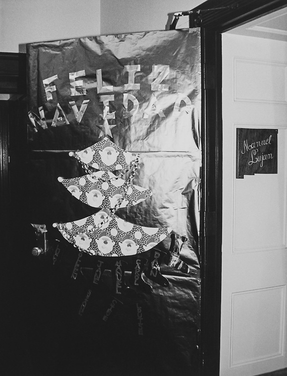 Decorated office of Rep. Manuel Lujan, R-N.M., with Christmas tree on door during Christmas contest in 1983. (Photo by CQ Roll Call via Getty Images)