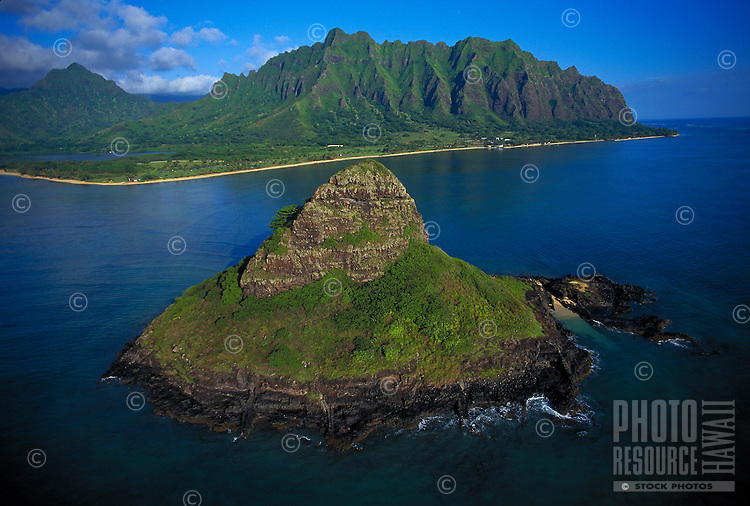 Aerial of Chinamans hat and Windward coastline, Oahu