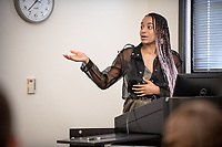 "Sophia Brown presents, ""Pherneternity""<br /> Mentor: Sarah Kozinn, Theater<br /> Occidental College's Undergraduate Research Center hosts their annual Summer Undergraduate Research Conference on July 31, 2019. Student researchers presented their work as either oral or poster presentations at this final conference. The program lasts 10 weeks and involves independent research in all departments.<br /> (Photo by Marc Campos, Occidental College Photographer)"