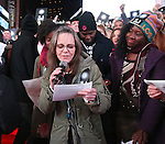 Sally Field attends The Ghostlight Project to light a light and make a pledge to stand for and protect the values of inclusion, participation, and compassion for everyone - regardless of race, class, religion, country of origin, immigration status, (dis)ability, gender identity, or sexual orientation at The TKTS Stairs on January 19, 2017 in New York City.