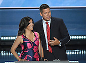 United States Representative Sean Duffy (Republican of Wisconsin) and his wife Rachel make remarks at the 2016 Republican National Convention held at the Quicken Loans Arena in Cleveland, Ohio on Monday, July 18, 2016.<br /> Credit: Ron Sachs / CNP<br /> (RESTRICTION: NO New York or New Jersey Newspapers or newspapers within a 75 mile radius of New York City)