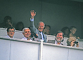 Washington Redskins owner Jack Kent Cooke waves to the fans from his box during the game against the Philadelphia Eagles at RFK Stadium in Washington, D.C. on September 13, 1987.<br /> Credit: Ron Sachs / CNP