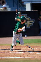 Siena Saints first baseman Evan St. Claire (8) starts down the first base line during a game against the UCF Knights on February 17, 2019 at John Euliano Park in Orlando, Florida.  UCF defeated Siena 7-1.  (Mike Janes/Four Seam Images)
