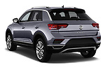 Car pictures of rear three quarter view of a 2018 Volkswagen T-Roc Elegance 5 Door SUV angular rear
