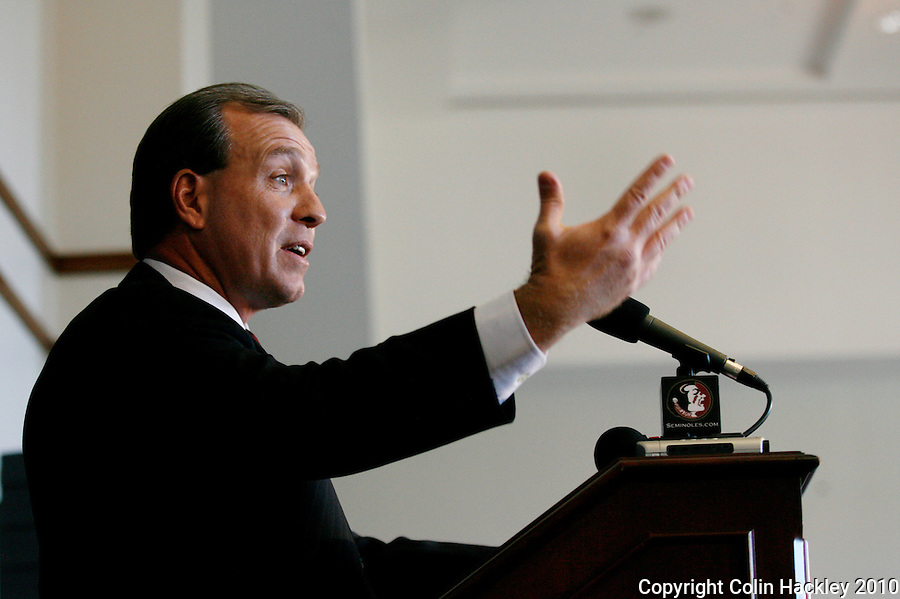 TALLAHASSEE, FLA. 1/6/10-FISHER 010610 CH10-Jimbo Fisher talks about his new job as head coach of the Florida State University football team, Wednesday during a news conference in Tallahassee...COLIN HACKLEY PHOTO