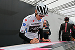 Maglia Bianca Pavel Sivakov (RUS) Team Ineos at sign on before Stage 16 of the 2019 Giro d'Italia, running 194km from Lovere to Ponte di Legno, Italy. 28th May 2019<br /> Picture: Gian Mattia D'Alberto/LaPresse | Cyclefile<br /> <br /> All photos usage must carry mandatory copyright credit (© Cyclefile | Gian Mattia D'Alberto/LaPresse)