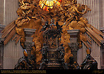 Cathedra Petri detail Chair of St Peter Gilded Bronze Cherubs holding Papal Keys and Tiara Relief Feed my Sheep St Ambrose St John Chrysostom St Athanasius St Augustine GianLorenzo Bernini 1666 Apse St Peter's Basilica Rome