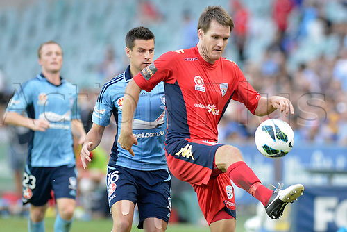 16.02.2013 Sydney, Australia. Adelaide defender Nigel Boogaard in action during the Hyundai A League game between Sydney FC and Adelaide United from the Allianz Stadium.