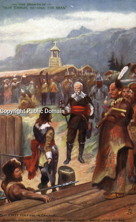 Champlain capitule à Quebec, et rend la ville à l'amiral Kirke, le 20 juillet 1629.