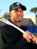 March 1, 2010:  Outfielder Jorge Padilla (74) of the Toronto Blue Jays poses for a photo during media day at Englebert Complex in Dunedin, FL.  Photo By Mike Janes/Four Seam Images