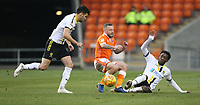 Blackpool's Jay Spearing is tackled by Burton Albion's Devante Cole<br /> <br /> Photographer Stephen White/CameraSport<br /> <br /> The EFL Sky Bet League One - Blackpool v Burton Albion - Saturday 24th November 2018 - Bloomfield Road - Blackpool<br /> <br /> World Copyright © 2018 CameraSport. All rights reserved. 43 Linden Ave. Countesthorpe. Leicester. England. LE8 5PG - Tel: +44 (0) 116 277 4147 - admin@camerasport.com - www.camerasport.com