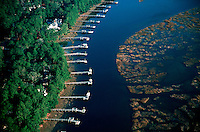 Aerial view of private docks along water. Cadys Island, South Carolina.