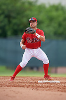 GCL Phillies West second baseman Sal Gozzo (4) during a Gulf Coast League game against the GCL Tigers West on July 27, 2019 at the Carpenter Complex in Clearwater, Florida.  (Mike Janes/Four Seam Images)