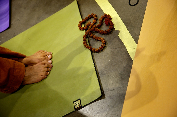 Global Mala Project (GMP) event.  Manduka mats.