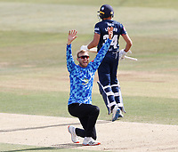 Danny Briggs of Sussex celebrates taking the wicket of Jordan Cox during Kent Spitfires vs Sussex Sharks, Vitality Blast T20 Cricket at The Spitfire Ground on 12th September 2020