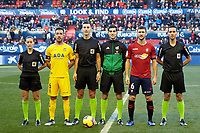 Captain of both teams and the 3 referees before the Spanish football of La Liga 123, match between CA Osasuna and AD Alcorcón at the Sadar stadium, in Pamplona (Navarra), Spain, on Sanday, December 16, 2018.