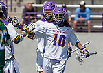 Troy Reh (#10) celebrates after scoring the first goal as UAlbany Lacrosse defeats Vermont 14-4  in the American East Conference Championship game at Casey Stadium, May 5.