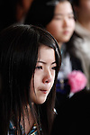 March 28, 2011, Ishonomaki, Japan - Thirty-six survivors of the March 11 earthquake and tsunami attend a graduation ceremony at a public school in Ishinomaki, Miyagi prefecture, on Tuesday, March 28. The ceremony took place in the arts and crafts room of the school, which has become a temporary shelter for the victims of the worst disaster. (Photo by AFLO) [3609] -mis-