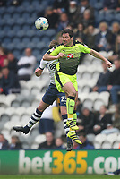 Preston North End's Paul Huntington jumps with Reading's Yann Kermorgant<br /> <br /> Photographer Mick Walker/CameraSport<br /> <br /> The EFL Sky Bet Championship - Preston North End v Reading - Saturday 11th March 2017 - Deepdale - Preston<br /> <br /> World Copyright &copy; 2017 CameraSport. All rights reserved. 43 Linden Ave. Countesthorpe. Leicester. England. LE8 5PG - Tel: +44 (0) 116 277 4147 - admin@camerasport.com - www.camerasport.com