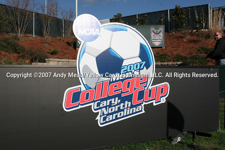 16 December 2007: College Cup logo. The Wake Forest University Demon Deacons defeated the Ohio State Buckeyes 2-1 at SAS Stadium in Cary, North Carolina in the NCAA Division I Mens College Cup championship game.
