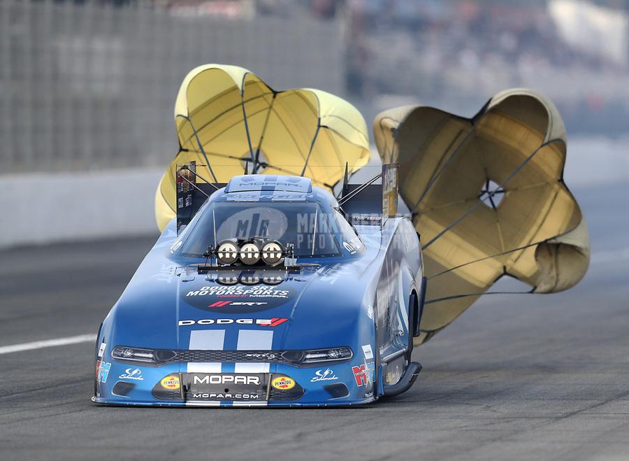 Nov 15, 2019; Pomona, CA, USA; NHRA funny car driver Matt Hagan during qualifying for the Auto Club Finals at Auto Club Raceway at Pomona. Mandatory Credit: Mark J. Rebilas-USA TODAY Sports