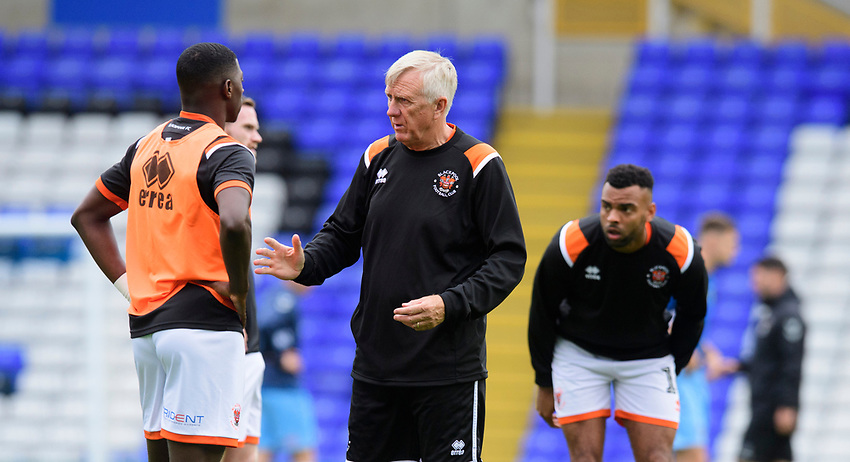 Blackpool's assistant manager Ian Miller speaks to Blackpool's Sullay Kaikai during the pre-match warm-up<br /> <br /> Photographer Chris Vaughan/CameraSport<br /> <br /> The EFL Sky Bet League One - Coventry City v Blackpool - Saturday 7th September 2019 - St Andrew's - Birmingham<br /> <br /> World Copyright © 2019 CameraSport. All rights reserved. 43 Linden Ave. Countesthorpe. Leicester. England. LE8 5PG - Tel: +44 (0) 116 277 4147 - admin@camerasport.com - www.camerasport.com