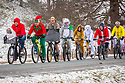 10/12/17<br /> <br /> Bicycle riders in fancy dress brave the freezing conditions  through Okeover Park on their annual two-wheeled pub crawl near Ashbourne, in the Derbyshire Peak District.<br />   <br /> All Rights Reserved F Stop Press Ltd. +44 (0)1335 344240 +44 (0)7765 242650  www.fstoppress.com