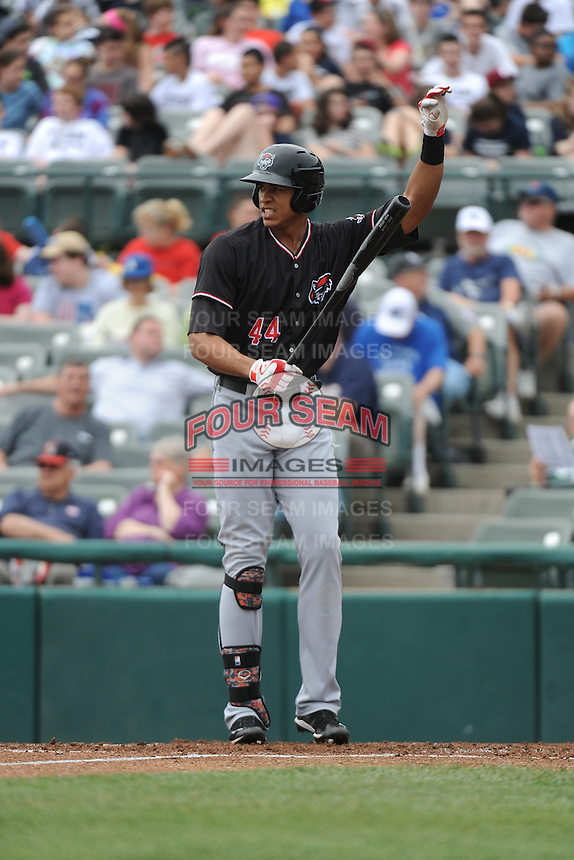 Erie Sea Wolves outfielder Steven Moya (44) during game against the Trenton Thunder at ARM & HAMMER Park on May 15, 2014 in Trenton, NJ.  Erie defeated Trenton 4-2.  (Tomasso DeRosa/Four Seam Images)
