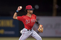 AZL Angels shortstop Jeremiah Jackson (8) makes a throw to first base during an Arizona League game against the AZL Diamondbacks at Tempe Diablo Stadium on June 27, 2018 in Tempe, Arizona. AZL Angels defeated the AZL Diamondbacks 5-3. (Zachary Lucy/Four Seam Images)
