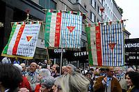Milano, 25 Aprile 2015, Manifestazione per il 70&deg; anniversario della Liberazione dal nazifascismo. Gonfaloni delle associazioni dei deportati nei campi di sterminio nazisti.<br /> Milan, April 25, 2015, Demonstration for the 70th anniversary of liberation from fascism.