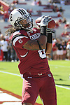 South Carolina Gamecocks wide receiver Lamar Scruggs (8) during pregame warmups. South Carolina leads 21 over Alabama 9 at  the half.