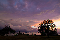 Sunset storm clouds with remains of San Fernando Academy, Pontotoc, Texas