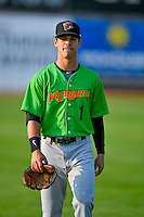 Mitch Roman (1) of the Great Falls Voyagers walks onto the field before the game against the Ogden Raptors in Pioneer League action at Lindquist Field on August 18, 2016 in Ogden, Utah. Ogden defeated Great Falls 10-6. (Stephen Smith/Four Seam Images)